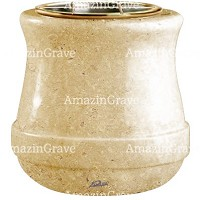 Flowers pot Calyx 19cm - 7,5in In Trani marble, golden steel inner
