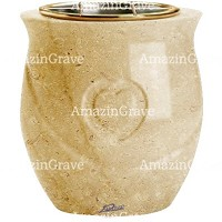 Flowers pot Cuore 19cm - 7,5in In Trani marble, golden steel inner