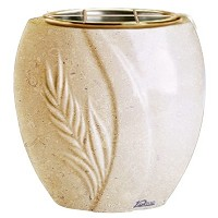 Flowers pot Spiga 19cm - 7,5in In Trani marble, golden steel inner