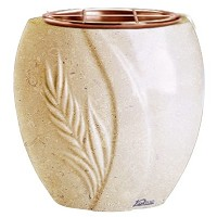 Flowers pot Spiga 19cm - 7,5in In Trani marble, copper inner