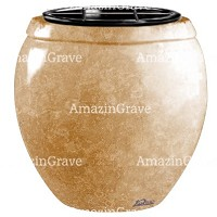 Flowers pot Amphòra 19cm - 7,5in In Travertino marble, plastic inner