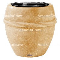Flowers pot Chordè 19cm - 7,5in In Travertino marble, plastic inner