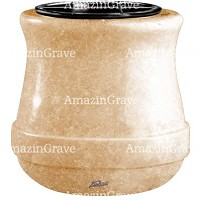Flowers pot Calyx 19cm - 7,5in In Travertino marble, plastic inner