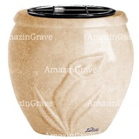 Flowers pot Calla 19cm - 7,5in In Travertino marble, plastic inner