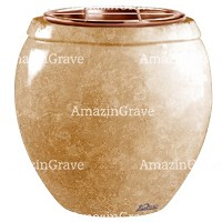 Flowers pot Amphòra 19cm - 7,5in In Travertino marble, copper inner