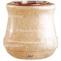 Flowers pot Calyx 19cm - 7,5in In Travertino marble, copper inner