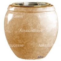 Flowers pot Amphòra 19cm - 7,5in In Travertino marble, golden steel inner