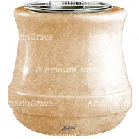 Flowers pot Calyx 19cm - 7,5in In Travertino marble, steel inner