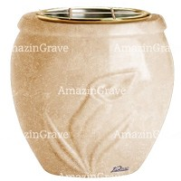Flowers pot Calla 19cm - 7,5in In Travertino marble, golden steel inner