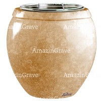 Flowers pot Amphòra 19cm - 7,5in In Travertino marble, steel inner