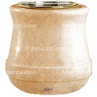 Flowers pot Calyx 19cm - 7,5in In Travertino marble, golden steel inner