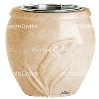 Flowers pot Calla 19cm - 7,5in In Travertino marble, steel inner