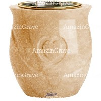 Flowers pot Cuore 19cm - 7,5in In Travertino marble, golden steel inner