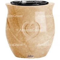 Flowers pot Cuore 19cm - 7,5in In Travertino marble, plastic inner