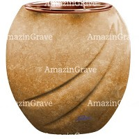 Flowers pot Soave 19cm - 7,5in In Travertino marble, copper inner
