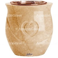 Flowers pot Cuore 19cm - 7,5in In Travertino marble, copper inner