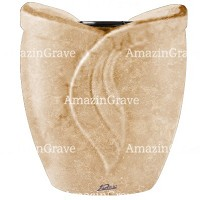 Flowers pot Gres 19cm - 7,5in In Travertino marble, plastic inner