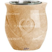 Flowers pot Cuore 19cm - 7,5in In Travertino marble, steel inner
