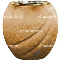 Flowers pot Soave 19cm - 7,5in In Travertino marble, golden steel inner