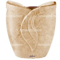 Flowers pot Gres 19cm - 7,5in In Travertino marble, copper inner