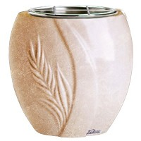 Flowers pot Spiga 19cm - 7,5in In Travertino marble, steel inner