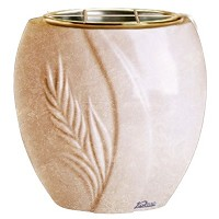 Flowers pot Spiga 19cm - 7,5in In Travertino marble, golden steel inner