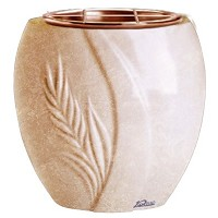 Flowers pot Spiga 19cm - 7,5in In Travertino marble, copper inner