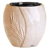 Flowers pot Spiga 19cm - 7,5in In Travertino marble, plastic inner