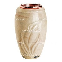 Flower vase Calla 20cm - 8in In Botticino marble, copper inner
