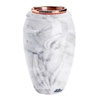 Flower vase Calla 20cm - 8in In Carrara marble, copper inner