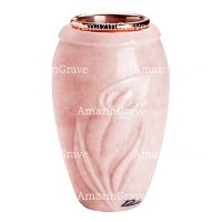 Flower vase Calla 20cm - 8in In Pink Portugal marble, copper inner