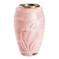 Flower vase Calla 20cm - 8in In Pink Portugal marble, golden steel inner