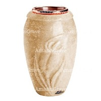 Flower vase Calla 20cm - 8in In Travertino marble, copper inner