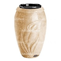 Flower vase Calla 20cm - 8in In Travertino marble, plastic inner