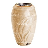 Flower vase Calla 20cm - 8in In Travertino marble, golden steel inner