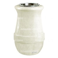 Flower vase Calyx 20cm - 8in In Pure white marble, steel inner