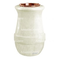 Flower vase Calyx 20cm - 8in In Pure white marble, copper inner
