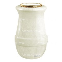 Flower vase Calyx 20cm - 8in In Pure white marble, golden steel inner