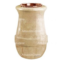 Flower vase Calyx 20cm - 8in In Botticino marble, copper inner