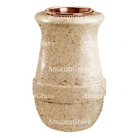 Flower vase Calyx 20cm - 8in In Calizia marble, copper inner