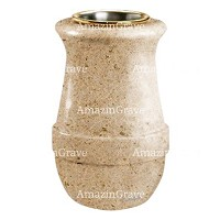 Flower vase Calyx 20cm - 8in In Calizia marble, golden steel inner