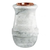 Flower vase Calyx 20cm - 8in In Carrara marble, copper inner