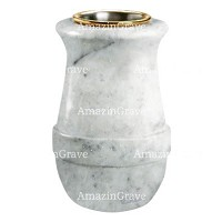 Flower vase Calyx 20cm - 8in In Carrara marble, golden steel inner