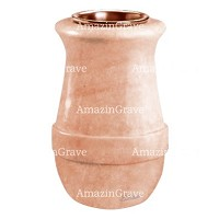 Flower vase Calyx 20cm - 8in In Pink Portugal marble, copper inner