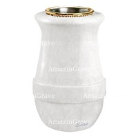 Flower vase Calyx 20cm - 8in In Sivec marble, golden steel inner