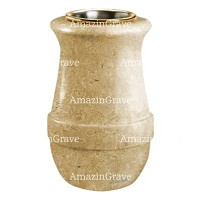 Flower vase Calyx 20cm - 8in In Trani marble, golden steel inner