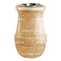 Flower vase Calyx 20cm - 8in In Travertino marble, steel inner