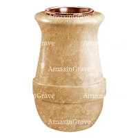 Flower vase Calyx 20cm - 8in In Travertino marble, copper inner