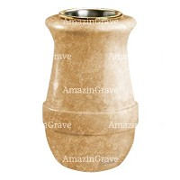 Flower vase Calyx 20cm - 8in In Travertino marble, golden steel inner
