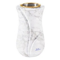 Flower vase Charme 20cm - 8in In Carrara marble, golden steel inner